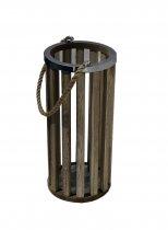 Lanterna Savena Madeira Alça Corda 39cm - Occa Moderna cód: 37756