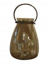Lanterna Vidro Dourada 35cm - Occa Moderna cód: 37521